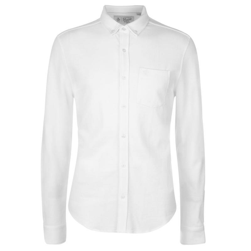 Original Penguin Original Long Sleeve Knitted Shirt Bright White