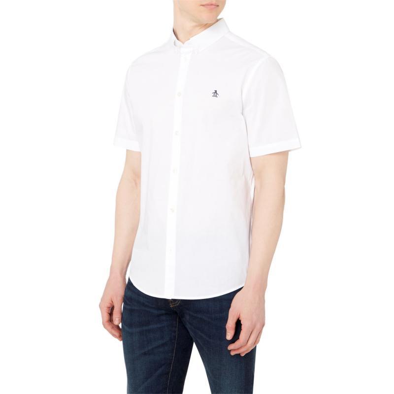 Original Penguin Penguin Short Sleeve Shirt Mens Bright White