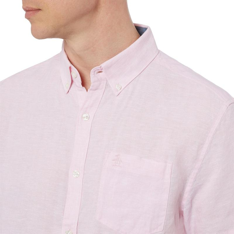 Original Penguin Penguin Short Sleeve Shirt Mens Parfait Pink