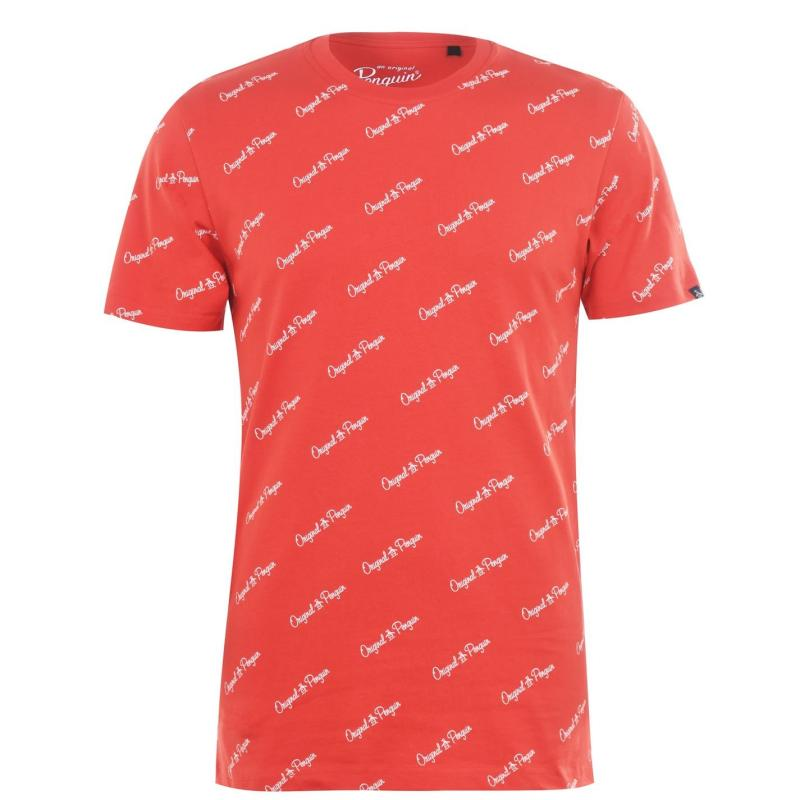 Tričko Original Penguin Script T Shirt 620 H R Red