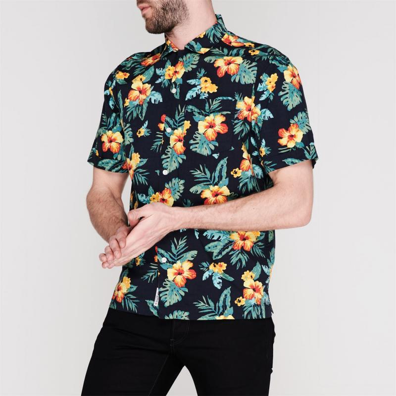 Original Penguin Short Sleeve Floral Shirt Dark Sapphire