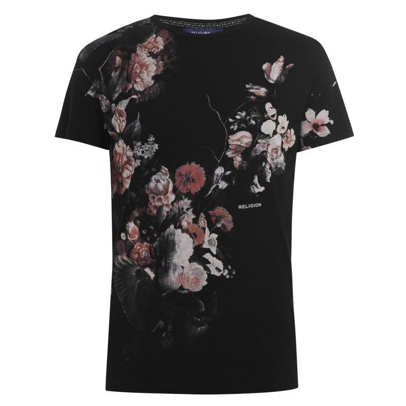 Tričko Religion Dark Flower T Shirt Black