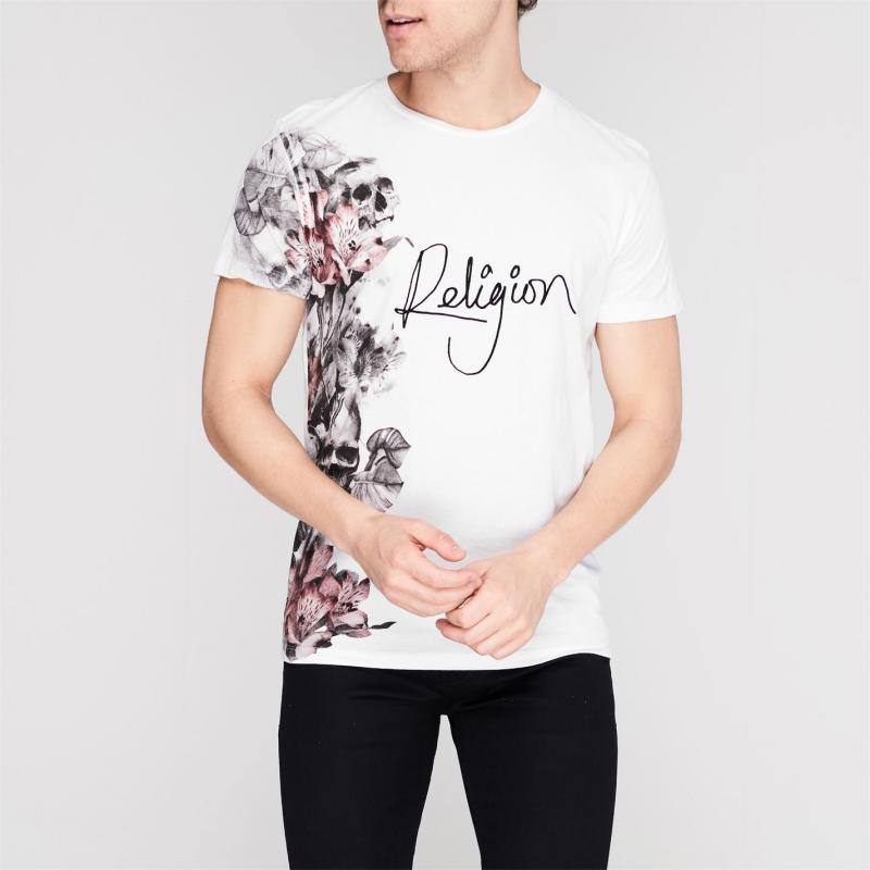 Tričko Religion Side Flower T Shirt White