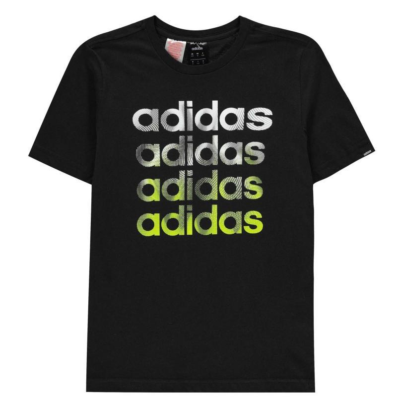 Tričko adidas Faded Repeat Logo T-Shirt Junior Boys Blk/SignalGreen