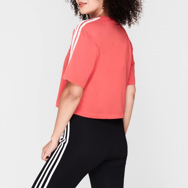 Adidas 3S Crop T Shirt Womens Glory Red