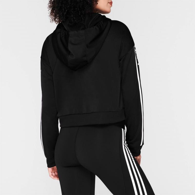 Mikina adidas C90 Crop Hoodie Womens Black/White