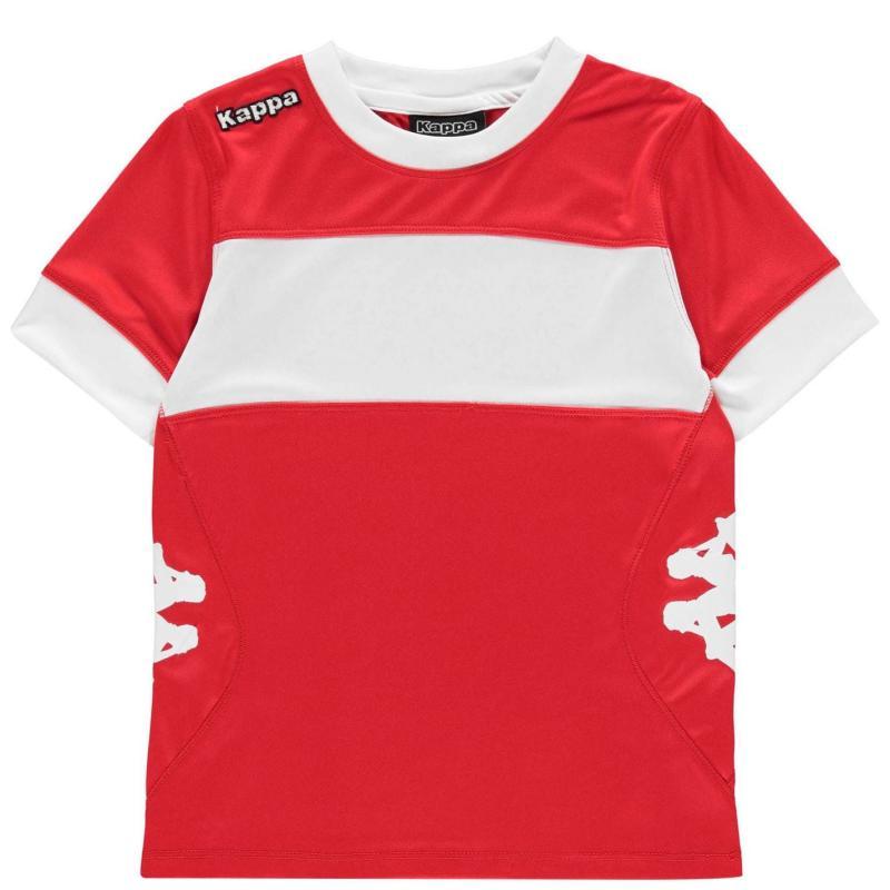 Tričko Kappa Remilio Short Sleeve T Shirt Junior Boys Crimson Red/ Wh