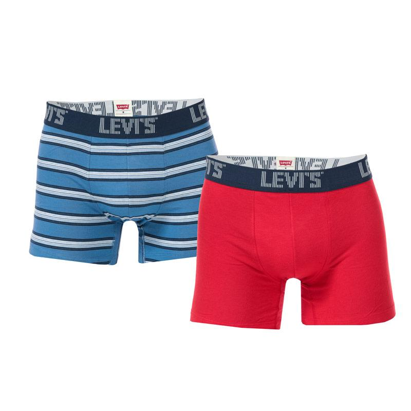 Spodní prádlo Levis Mens Basic Stripe 2 Pack Boxer Shorts Navy
