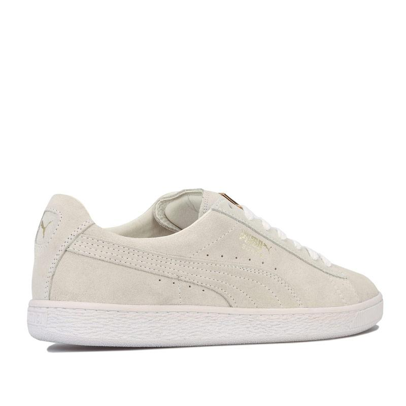 Puma Suede Classic Metal Badge Trainers White gold