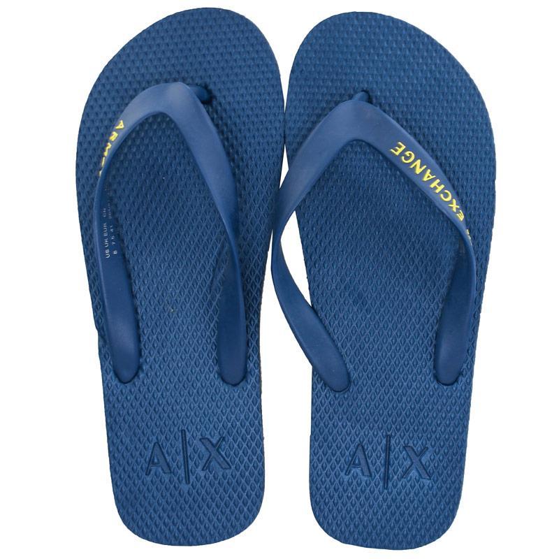 Armani Exchange Mens Solid Flip Flops Blue