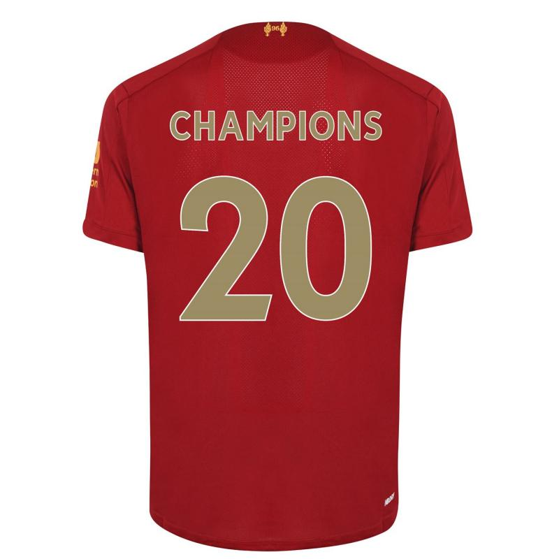 New Balance Liverpool Home Champions Back Print Shirt Junior Red Pepper
