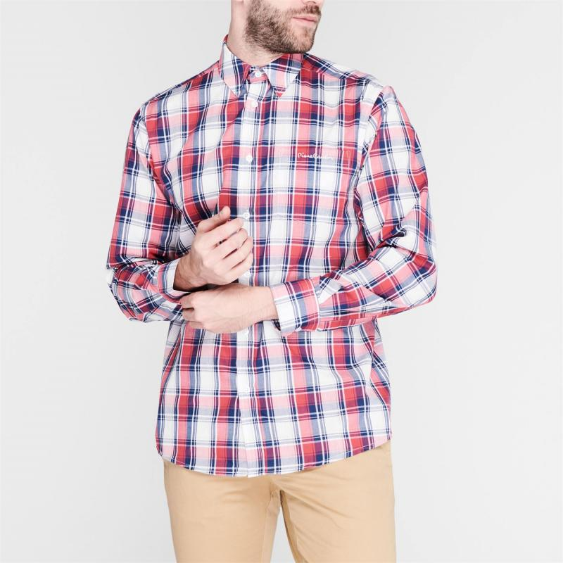 Pierre Cardin Check Long Sleeve Shirt Mens Navy/Red/Wht