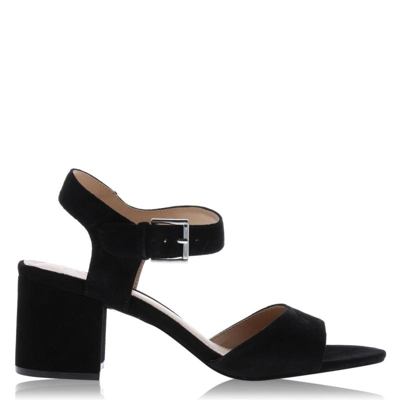 Obuv Linea Block Heel Sandals Black Suede