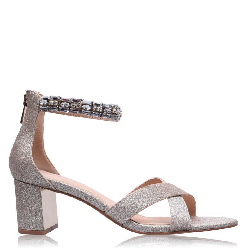 Obuv Linea Jewelled Block Heels Champagne