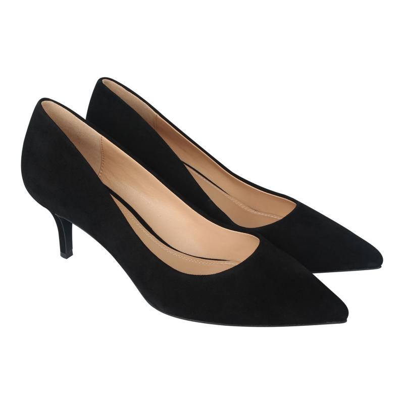 Obuv Linea Kitten Heel Shoes Black Suede