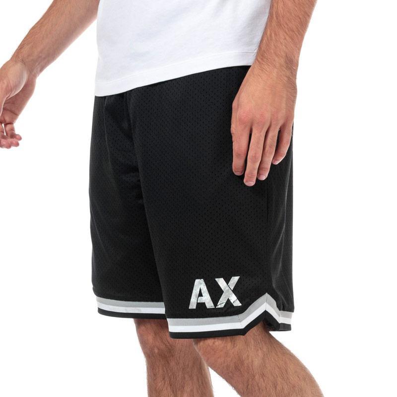 Armani Exchange Mens Stripped Trim Mesh Athletic Sweatshorts Black