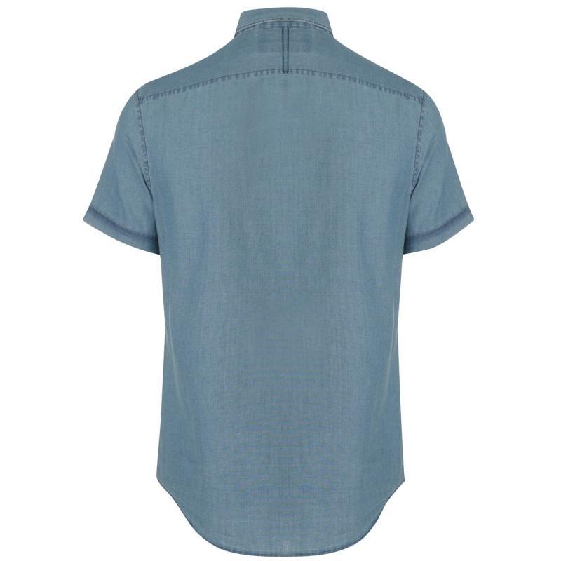 Original Penguin Penguin Short Sleeved Chambray Shirt Mens Dark Denim