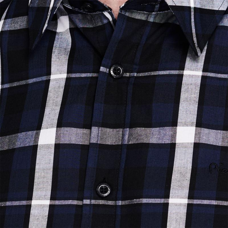 Pierre Cardin Check Print Short Sleeve Shirt Mens Navy/Blue/ Whte