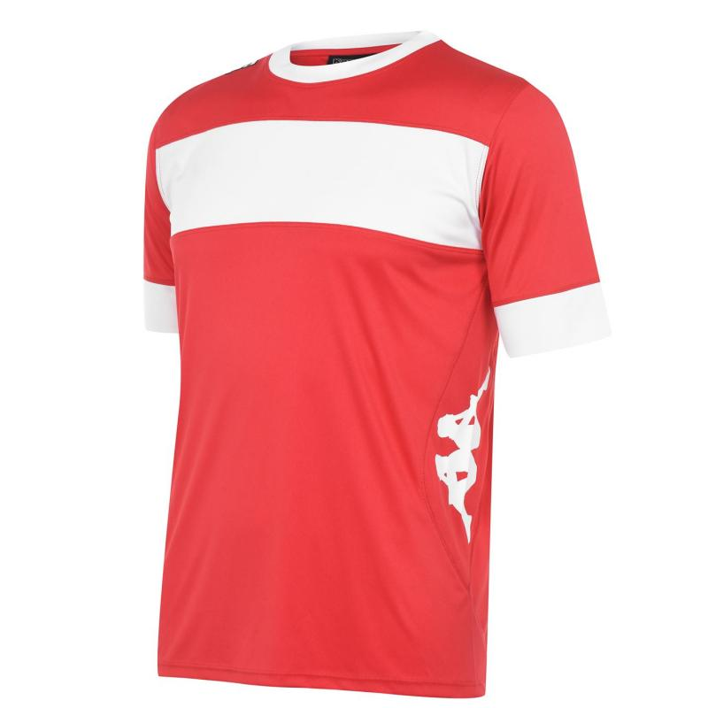 Tričko Kappa Remilio T Shirt Mens Crimson Red/ Wh