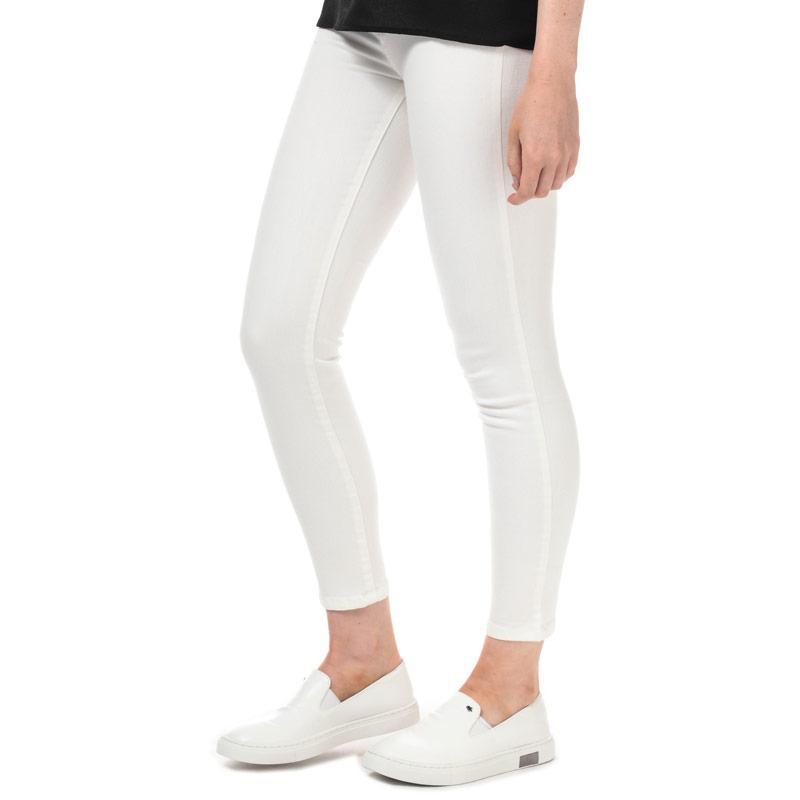 Armani Exchange Womens J10 Super Skinny Cropped Jeans White