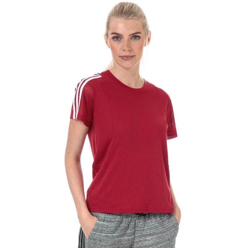 Adidas Womens 3-Stripes Mesh Sleeve T-Shirt Burgundy