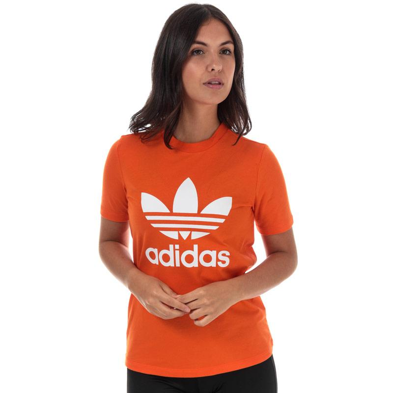 Adidas Originals Womens Trefoil T-Shirt Orange