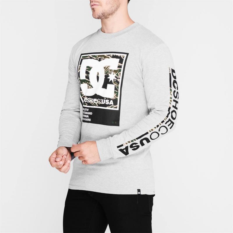 Tričko DC Arakana Long Sleeve T Shirt Grey KNFH