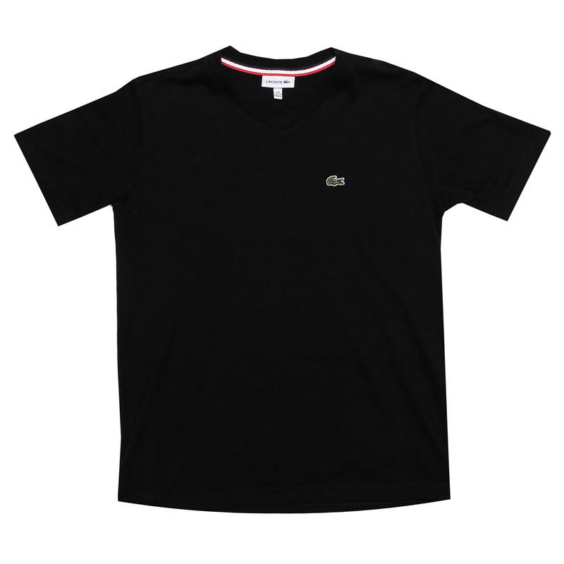 Tričko Lacoste Junior Boys Logo V Neck T-Shirt Black