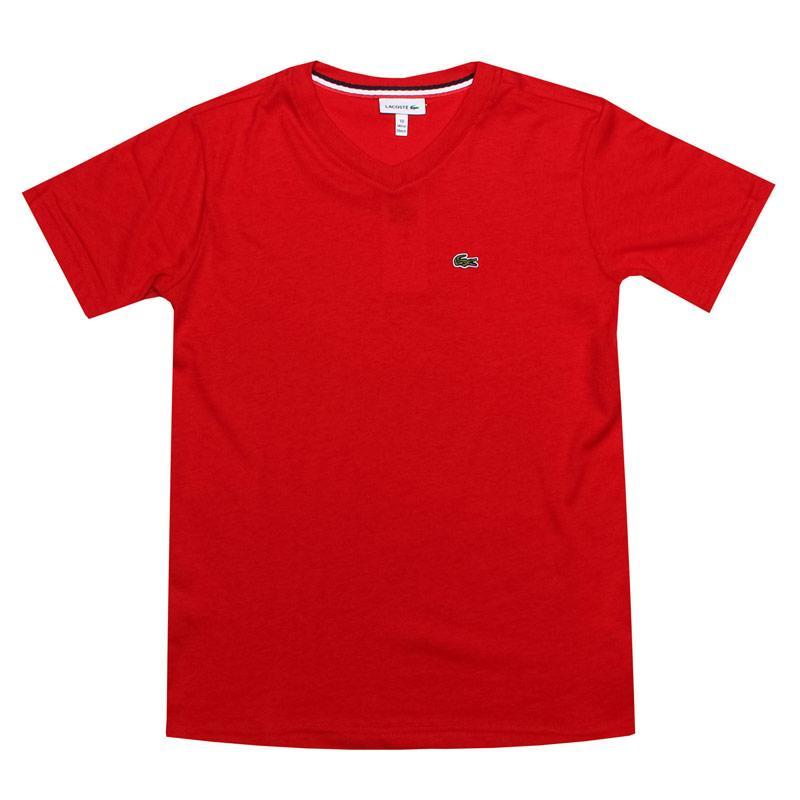 Tričko Lacoste Junior Boys Logo V Neck T-Shirt Red