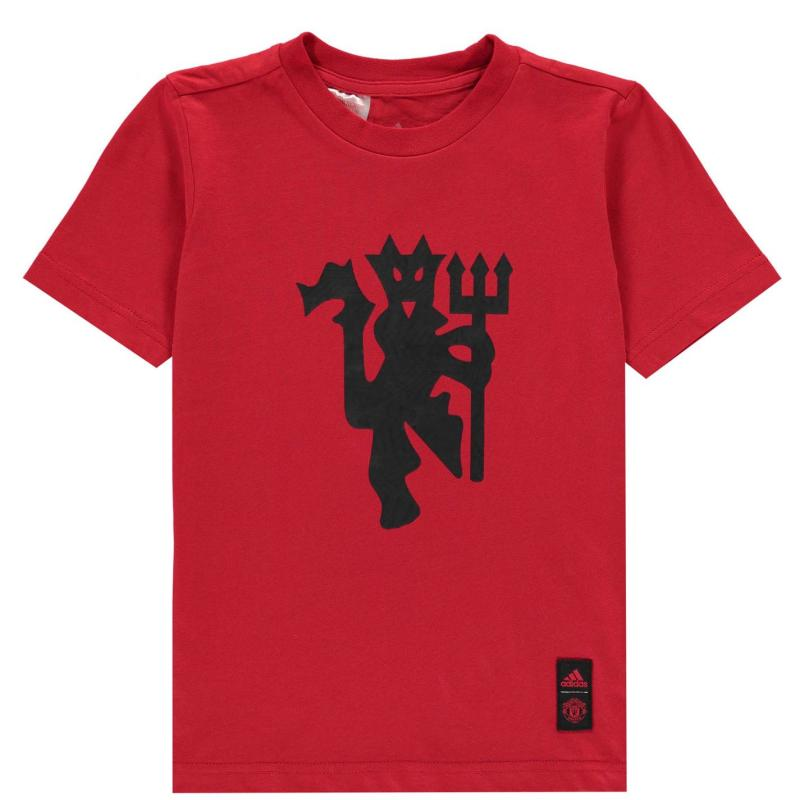 Adidas Manchester United DNA T Shirt 2020 2021 Junior Red