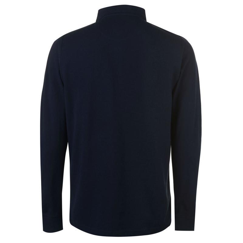 Pierre Cardin Plain Long Sleeve Polo Shirt Mens Navy