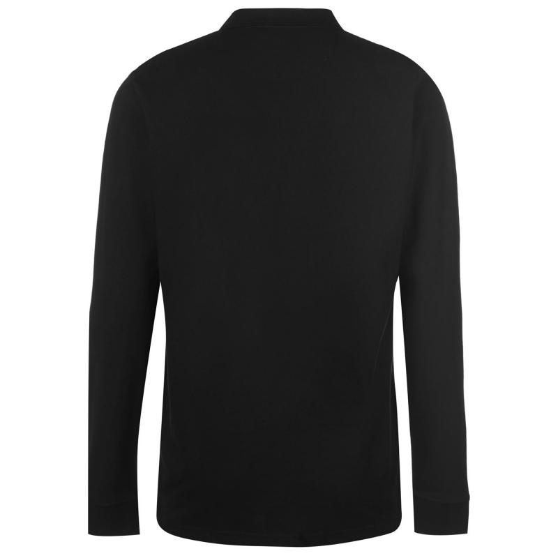 Pierre Cardin Plain Long Sleeve Polo Shirt Mens Black