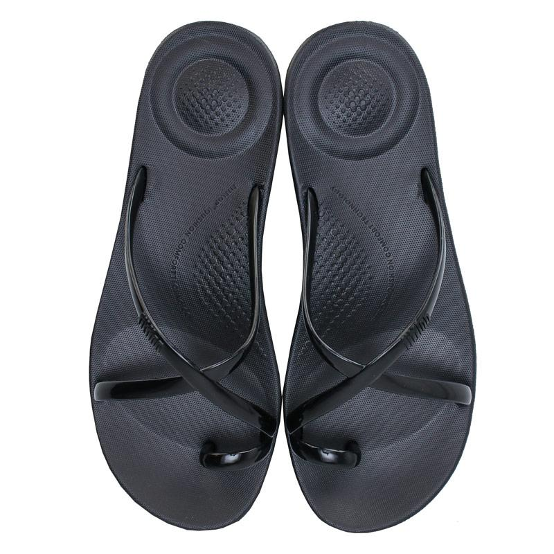 Boty Fit Flop Womens iQushion Wave Pearlised Sandals Black