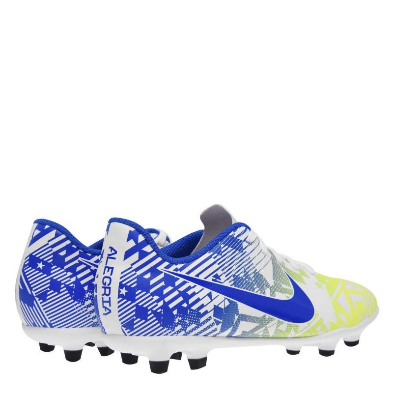 Nike Mercurial Club Firm Ground Football Boots Junior Boys White/Blue/Yllw