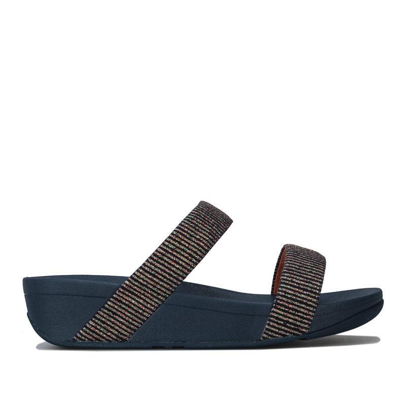 Boty Fit Flop Womens Lottie Glitter Stripe Slide Sandals Navy