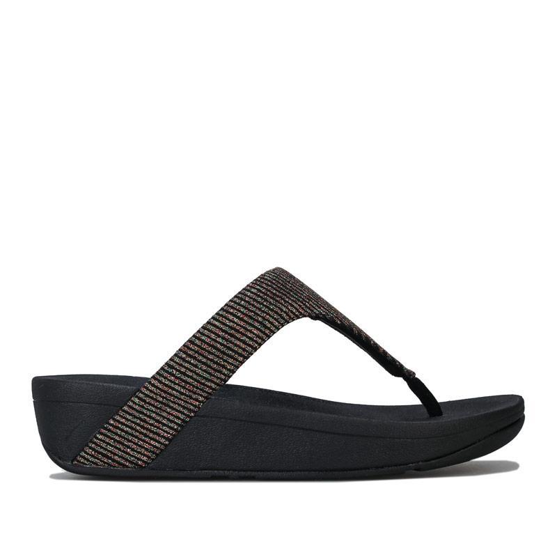 Boty Fit Flop Womens Lottie Glitter Stripe Toe Thong Sandals Black