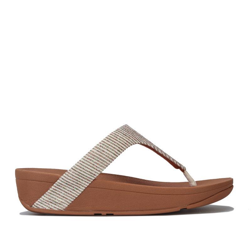 Boty Fit Flop Womens Lottie Glitter Stripe Toe Thong Sandals Stone