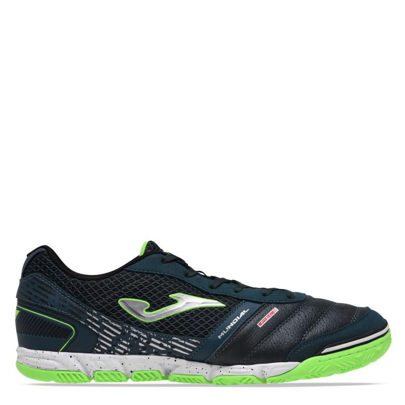 Joma Mundial Leather Mens Indoor Football Trainers DkGreen/Green