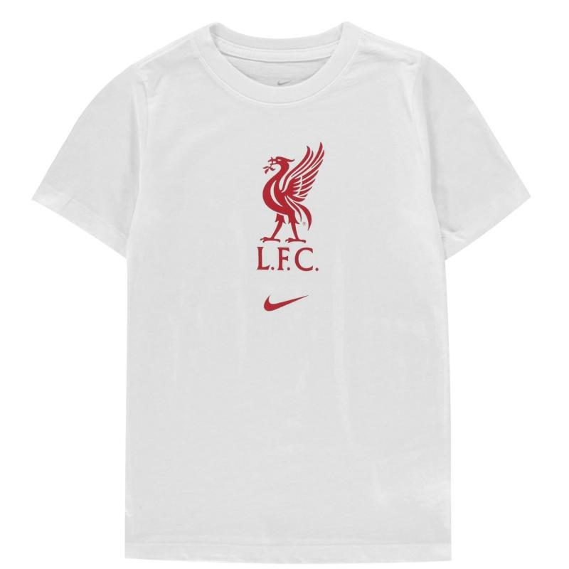 Nike Liverpool Crest T Shirt Junior WHITE/GYM RED