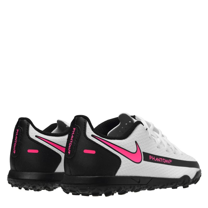 Nike Phantom GT Club Childrens Astro Turf Trainers WHITE/PINK BLAST-BLACK