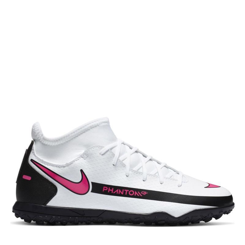 Nike Phantom GT Club DF Junior Astro Turf Trainers WHITE/PINK BLAST-BLACK