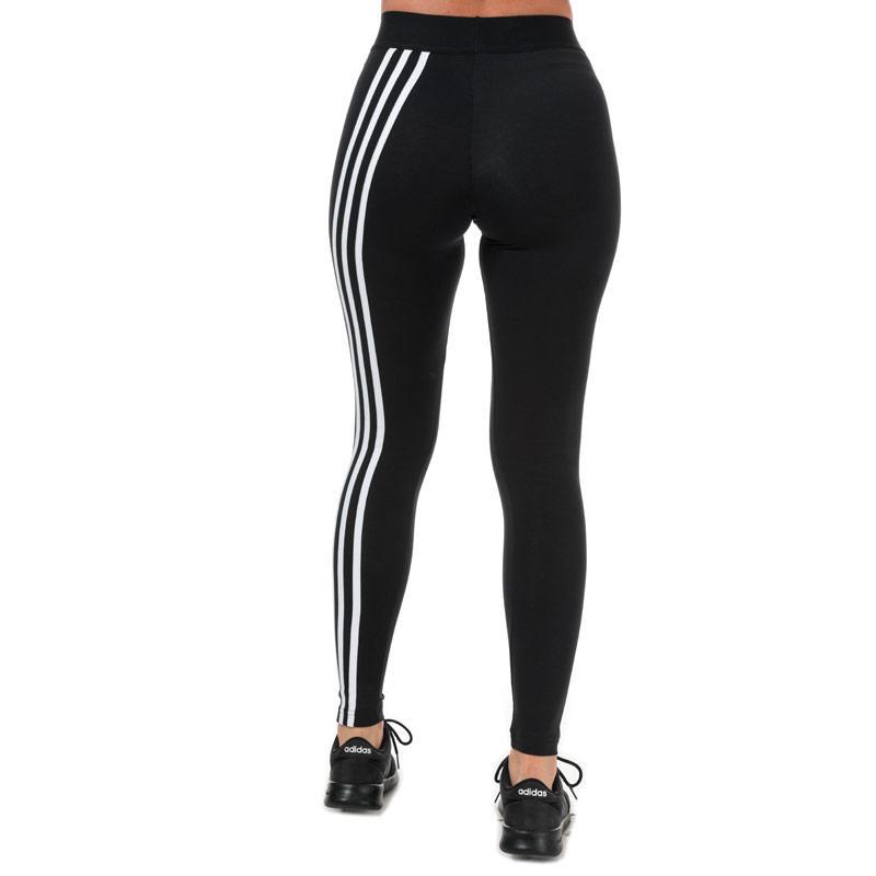 Adidas Womens Asymmetrical 3-Stripes Leggings Black-White
