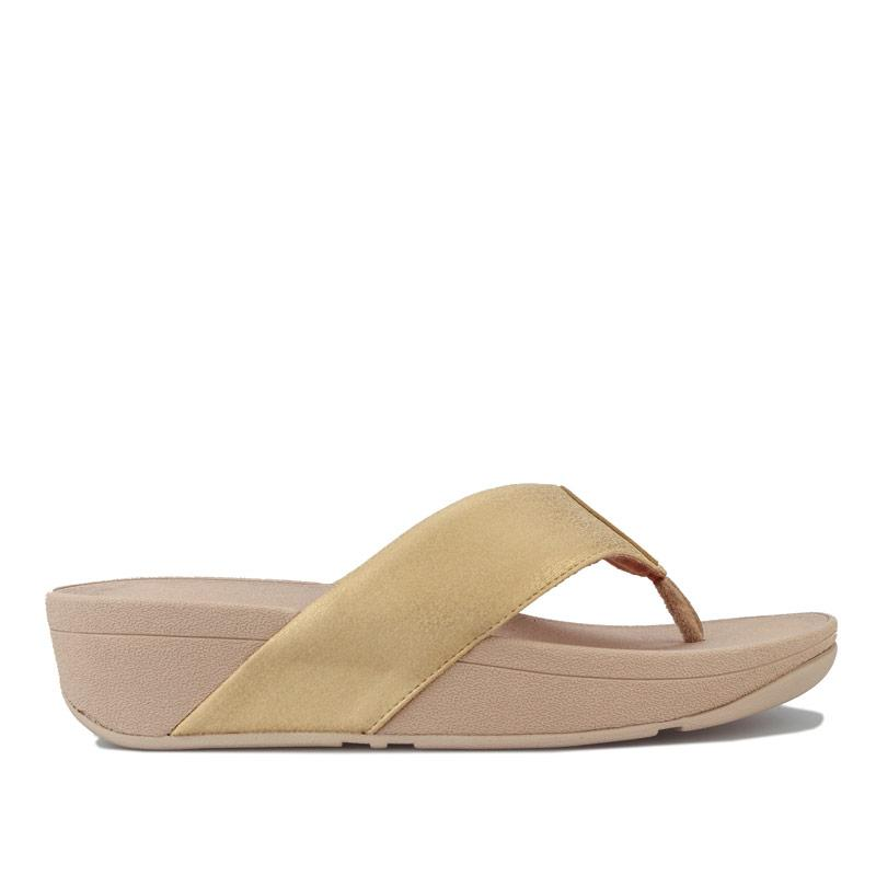 Boty Fit Flop Womens Demelza Shimmer Toe Thong Sandals Gold