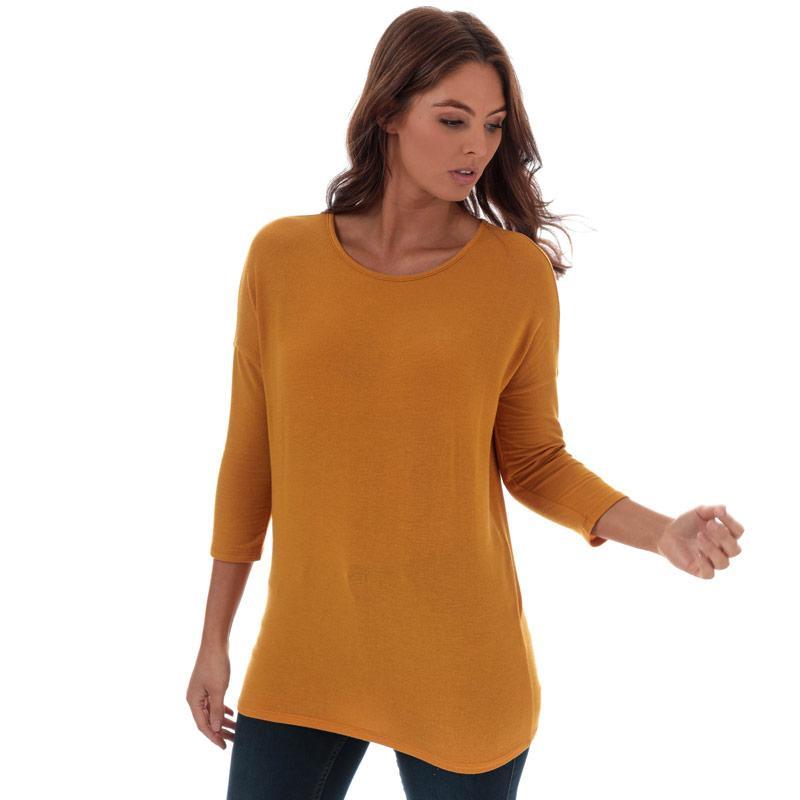Svetr Only Womens Glamour 3 Quarter Sleeve Jumper Yellow