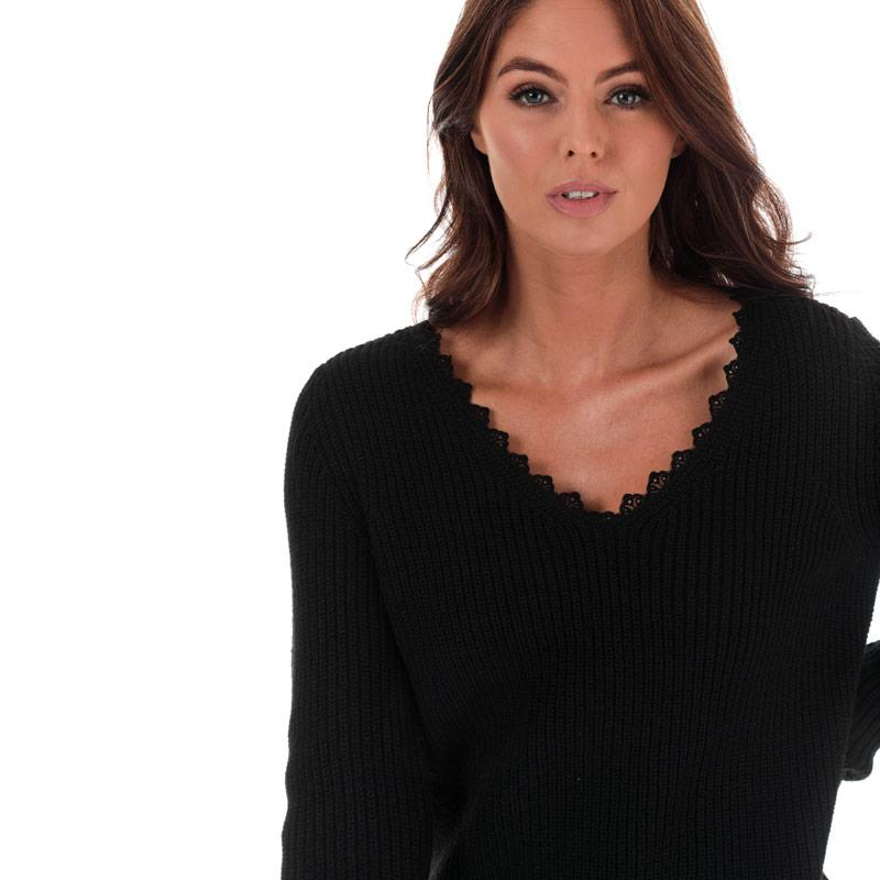 Svetr Only Womens Jennie Life Lace V-Neck Jumper Black