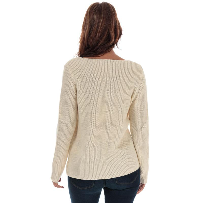 Svetr Only Womens Jennie Life Lace V-Neck Jumper Natural