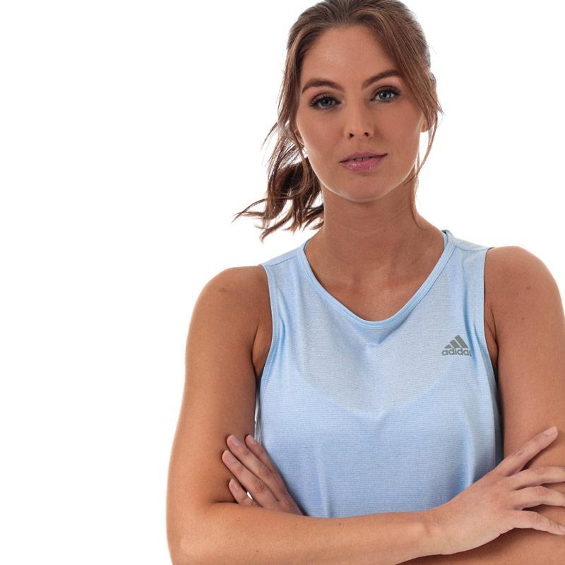Adidas Womens Own The Run Tank Top Light Blue