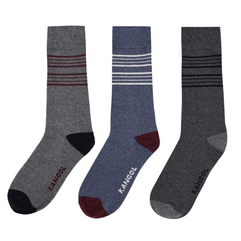 Ponožky Kangol Formal Sock 3 Pack Mens Thin Stripe