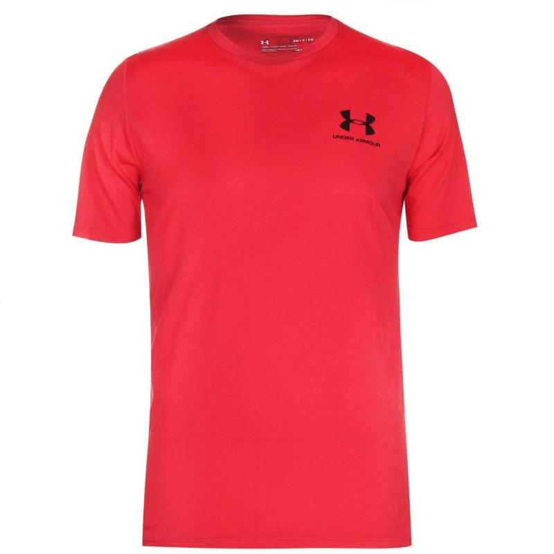 Tričko Under Armour Left Chest Logo Short Sleeve T Shirt Mens Cinna Red