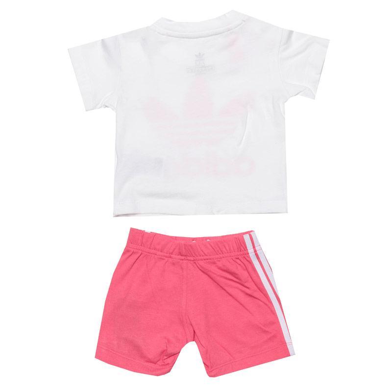 Adidas Originals Infant Girls Trefoil T-Shirt and Shorts Set White pink